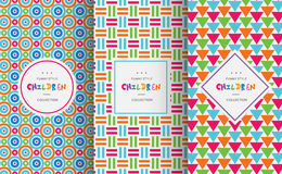 Bright colorful seamless patterns for baby style Royalty Free Stock Images