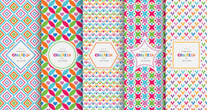 Bright colorful seamless patterns for baby style vector illustration