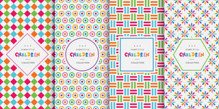 Bright colorful seamless patterns for baby style royalty free illustration