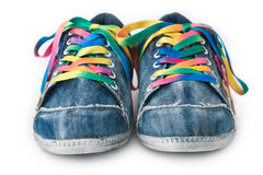 Bright colorful sneakers isolated on white Stock Photo