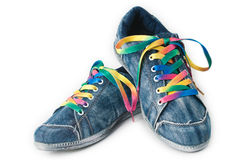 Bright colorful sneakers isolated on white Royalty Free Stock Photography