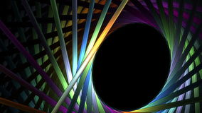 Bright colorful sticks in rotational motion over black background stock video footage