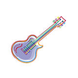 Bright colorful stylized sketch of modern electric guitar Royalty Free Stock Images