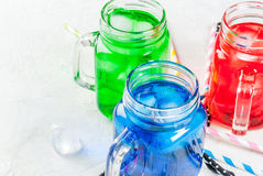 Bright colorful summer drinks with ice Royalty Free Stock Image