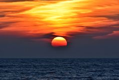 Beautiful sunrise over the baltic sea in gdynia, poland. Bright colorful sunrise over the sea Royalty Free Stock Photography