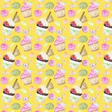 Bright colorful Sweet delicious watercolor pattern with cupcakes. Isolated elements on bright yellow background royalty free illustration