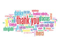THANK YOU tag cloud with translations. Bright and colorful tag cloud. THANK YOU translated into numerous languages. Vector royalty free illustration