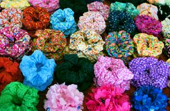 Bright Colorful Textile Scrunchy. Hair Bands. Filtered Image Royalty Free Stock Photography