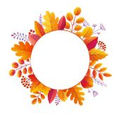 Bright colorful textured autumn forest leaves and berries vector round frame isolated on white background stock illustration
