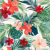 Bright colorful tropical seamless background with Royalty Free Stock Images