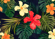 Bright colorful tropical seamless background with Royalty Free Stock Image