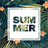 Bright colorful tropical summer poster with leaves Royalty Free Stock Photo
