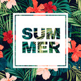 Bright colorful tropical summer poster with leaves Royalty Free Stock Photography