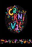 Bright colorful vector Set for Carnival festival decorate. Includ handwritten lettering text, confetti, masks, fireworks. Bright colorful vector illustration royalty free stock images