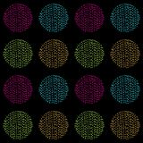 Bright and colorful vector seamless pattern of hand drawn circles on a black background. Hatched circles, doodle style vector illustration