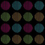 Bright and colorful vector seamless pattern of hand drawn circles on a black background. Bright and colorful vector seamless pattern with waves hatched circles stock illustration