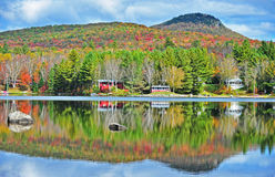 Bright Colorful VT Autumn reflection Owls Head in the background HDR Royalty Free Stock Images
