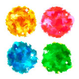 Bright Colorful Watercolor Paint Circle Splashes with Glitter Stock Photos