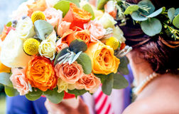 Bright colorful wedding flower bouqet Stock Photo