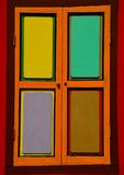 Bright colorful window shutters with four panels Stock Image