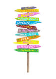 Bright colorful wooden directional beach signs with text on pole stock photos