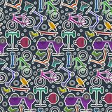 Bright colorful youth city transport pattern. Bright colorful youth city transport in sticker style seamless pattern. Contrast cute urban ecological transport Stock Photo