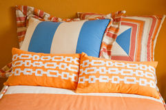 Bright colorful youthful bedroom textiles Royalty Free Stock Image