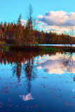 Bright colors of autumn reflected in the still waters of a beautiful forest lake Royalty Free Stock Photos