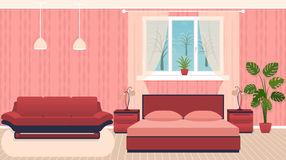 Bright colors bedroom interior with furniture and winter landscape outside the window. Flat vector illustration Stock Photos