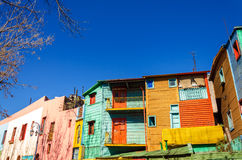 Bright Colors in Buenos Aires. Brightly painted buildings in La Boca neighborhood of Buenos Aires, the birthplace of Tango Royalty Free Stock Photography