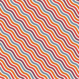 Bright colors diagonal wavy stripes seamless pattern. Vivid repeated lines wallpaper with classic motif. Royalty Free Stock Photography