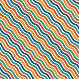 Bright colors diagonal wavy stripes seamless pattern. Vivid repeated lines wallpaper with classic motif. Royalty Free Stock Image