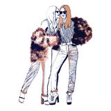 bright colors fashion models white σκίτσο Handdrawn απεικόνιση μόδας Στοκ Εικόνες