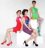 bright colors fashion models white Στοκ Φωτογραφίες