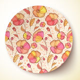 Bright colors flower pattern on plate Royalty Free Stock Photos