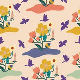 Bright colors flowers and birds in a repeated pattern stock illustration