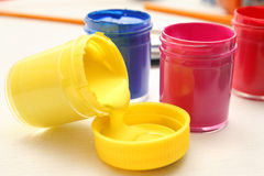 Bright colors of gouache. Bright colors of yellow, blue and pink gouache Royalty Free Stock Photography