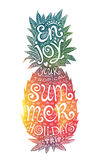 Bright colors hand drawn watercolor pineapple silhouette with grunge lettering inside Royalty Free Stock Images