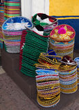 Bright colors of Mexican hats sombrero. Variety of national mexican hats stock photos
