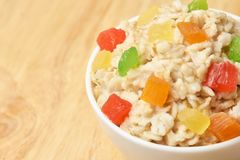 Bright colors. Oatmeal with dried fruits. Useful breakfast. Healthy food Royalty Free Stock Photography