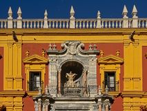 Detail of the Palace of the Bishop of Malaga. Bright colors of the Palace of the Bishop of Malaga on a sunny day with clear blue sky stock images