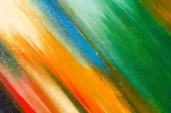 Bright colors on paper. Green, blue, orange stock images