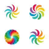 Bright  colors rainbow flower logo set. Stock Image
