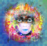 Bright colors robot face Stock Images