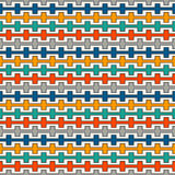 Bright colors seamless pattern with battlement curved lines. Repeated geometric figures wallpaper. Modern surface. Stock Photo