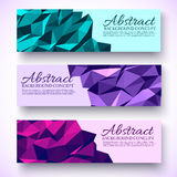 Bright colors set banners polygonal low poly Stock Photo