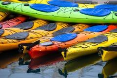 Bright Colors Sport Kayaks Alaska Marine Harbor Stock Photo