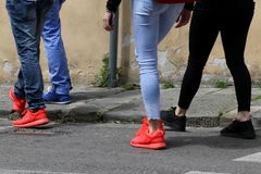 Look at the colorful shoes. Royalty Free Stock Image