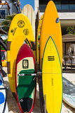 Bright colors of Surf Boards at a Beach resort Royalty Free Stock Photo