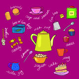 Bright colors tea cup and teapot Stock Images